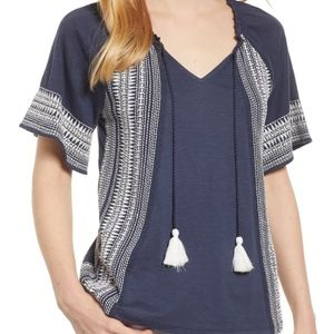 CASLON Navy Embroidered Border Peasant Top